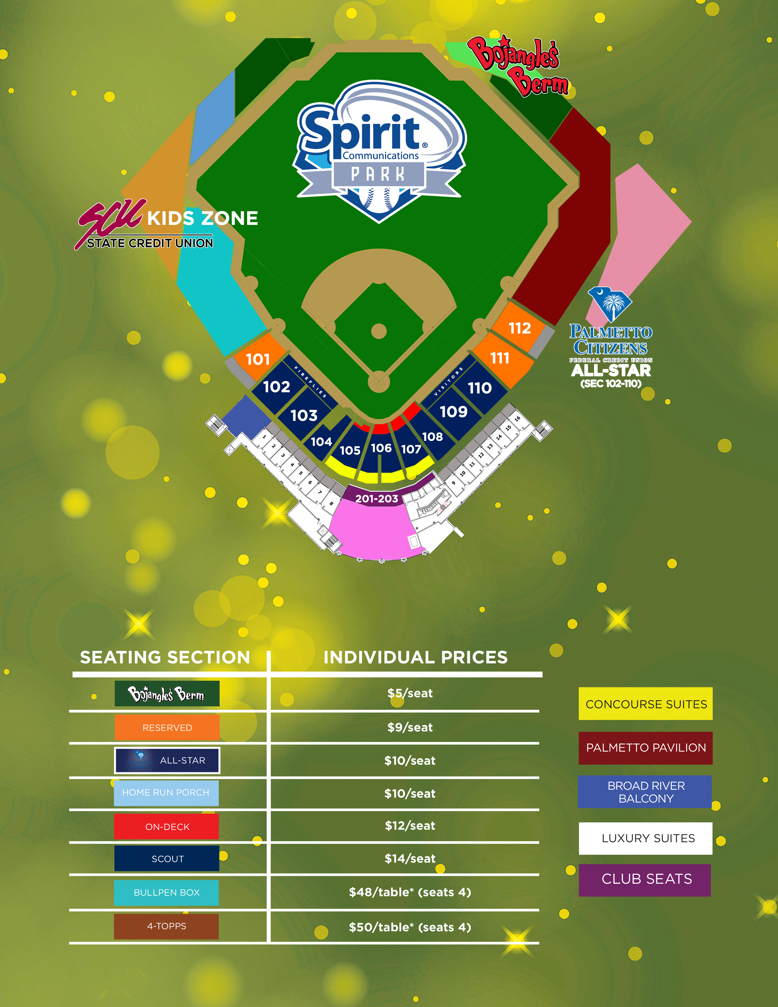spirit communications park seating map