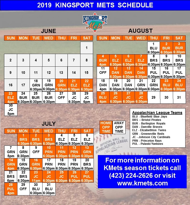 image about Printable Mets Schedule named Kingsport Mets