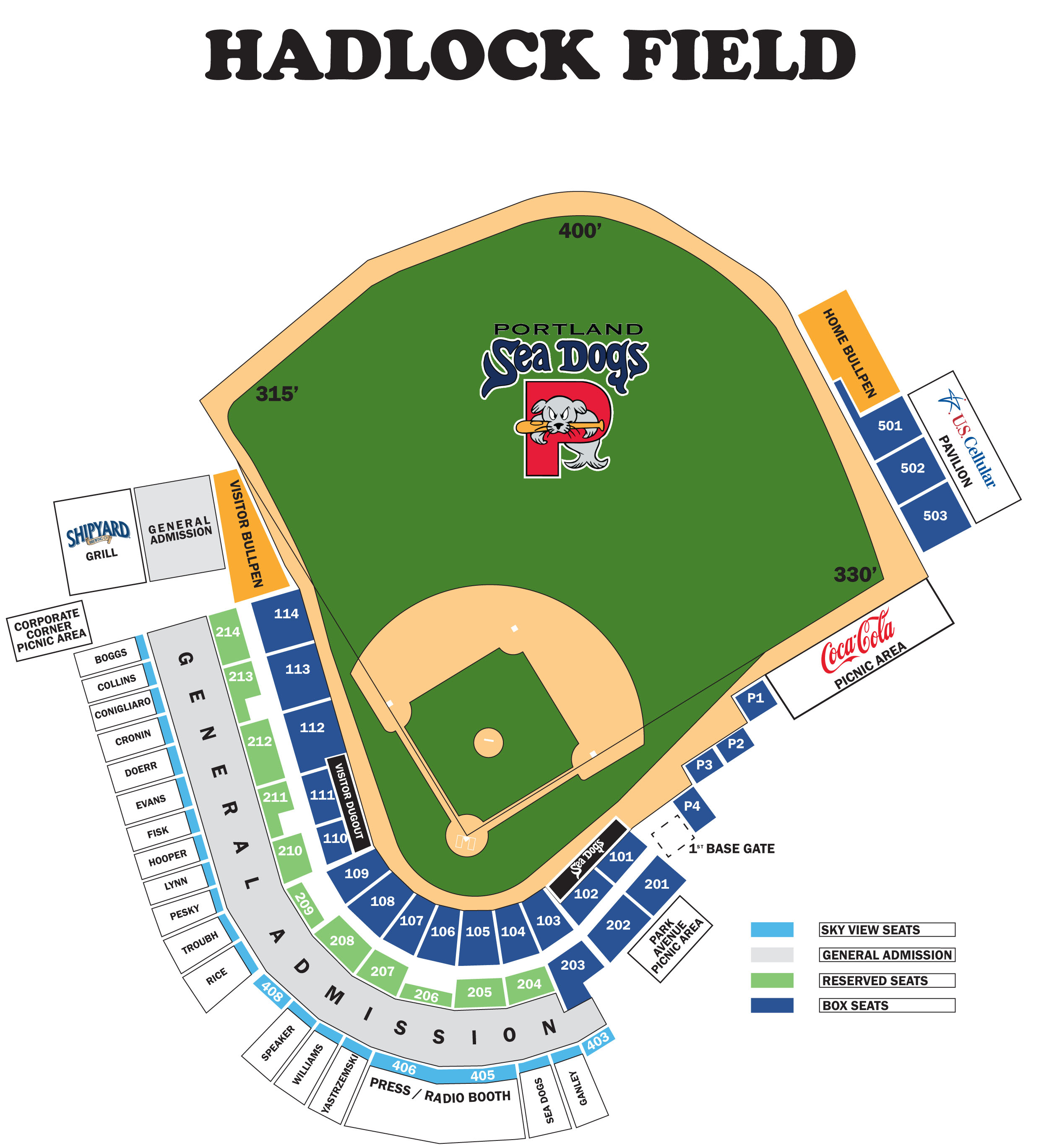 Ticket Prices Seating Chart Portland Sea Dogs Hadlock Field - Us cellular field seating map