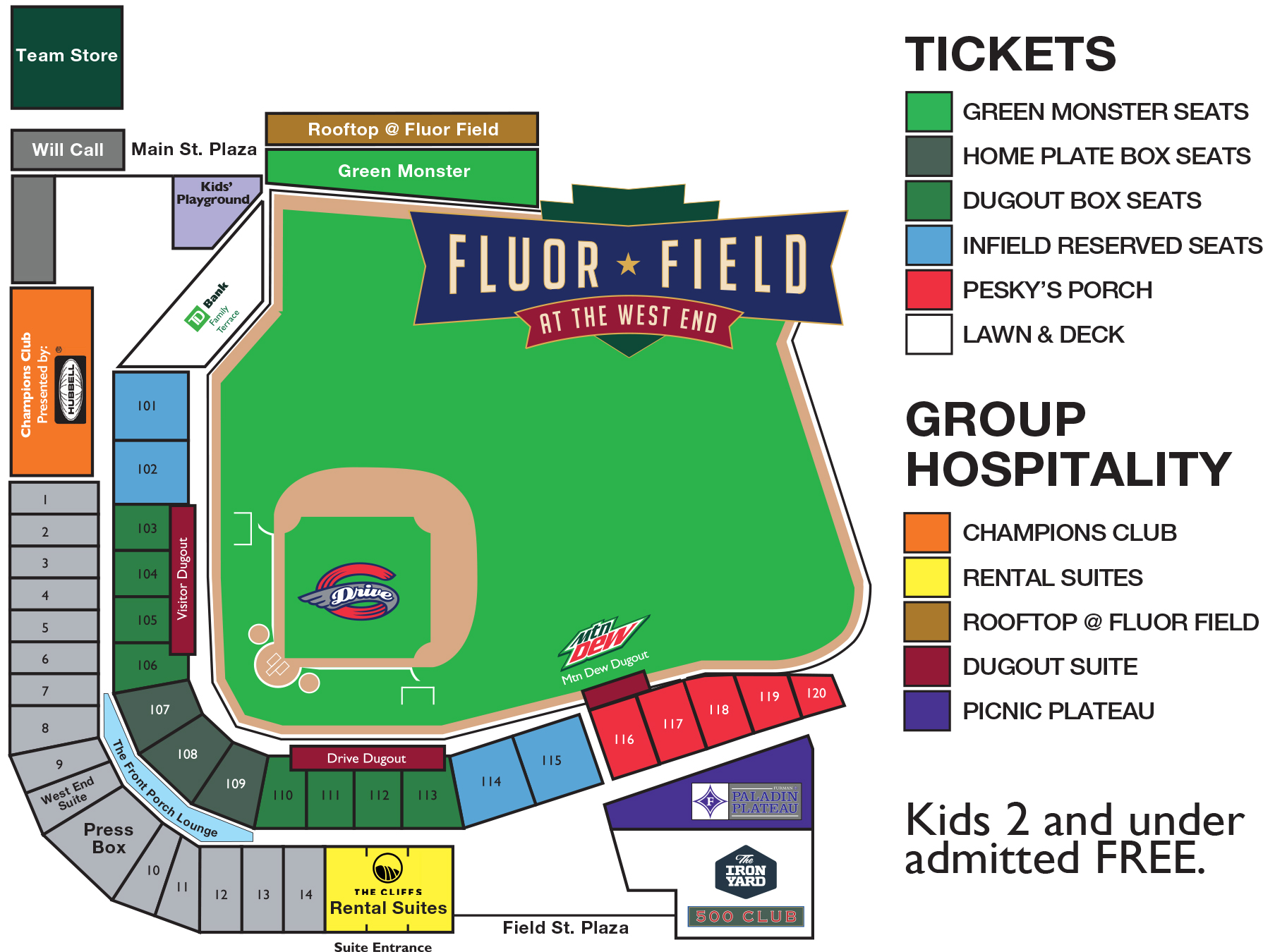 Ticket Prices Ballpark Map Greenville Drive Tickets