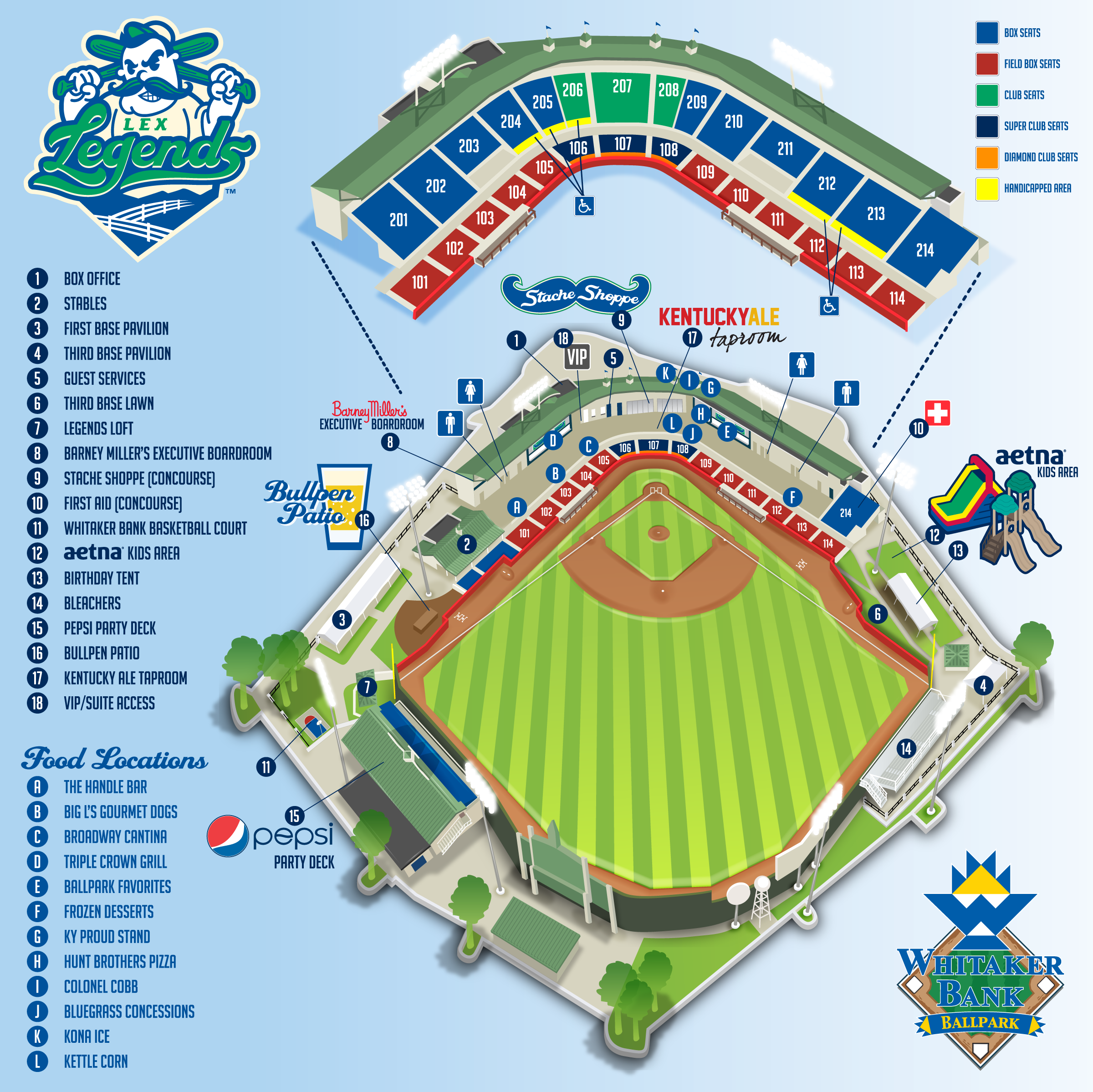 The official site of the lexington legends lexingtonlegends whitaker bank ballpark diagram malvernweather Gallery
