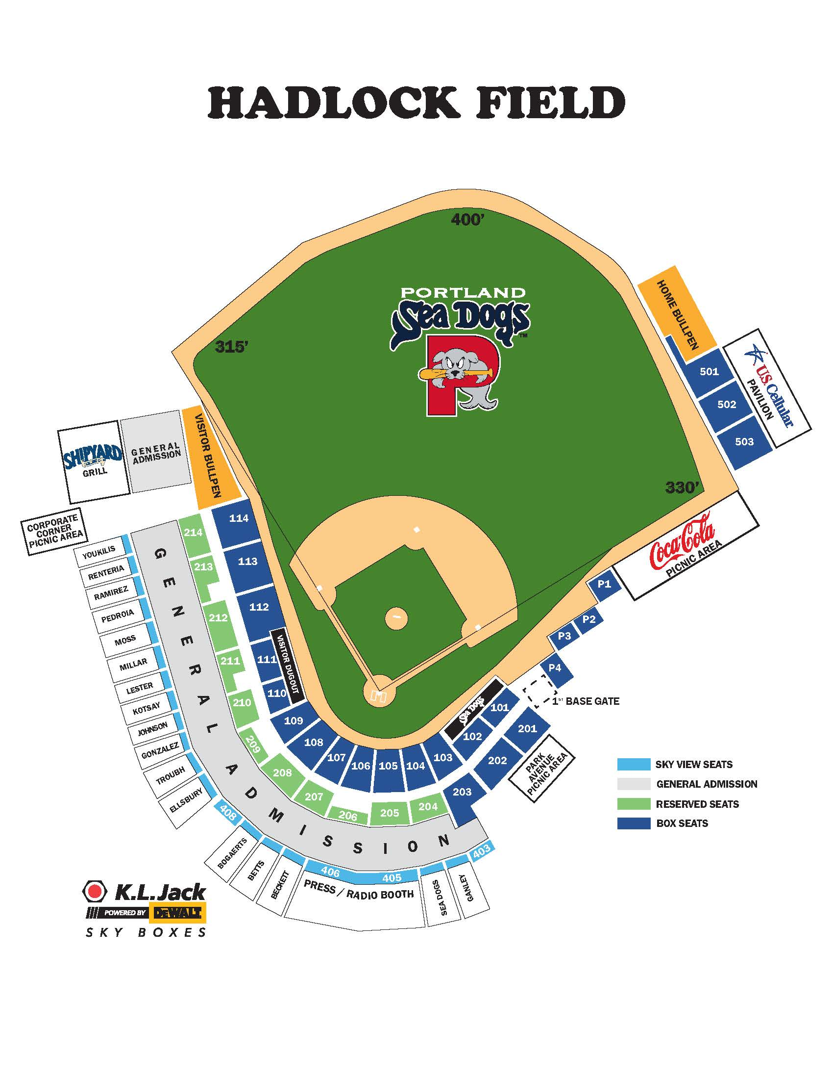 Sea Dogs Seating Chart And Ticket Information Sea Dogs - Us-cellular-seat-map