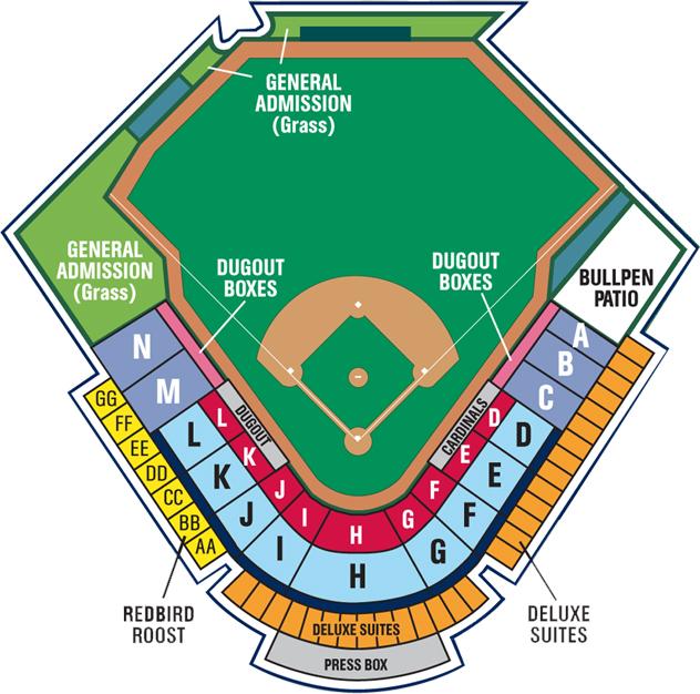 Seating Chart Springfield Cardinals Hammons Field