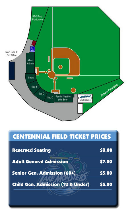 Seating & Pricing | Vermont Lake Monsters Centennial Field