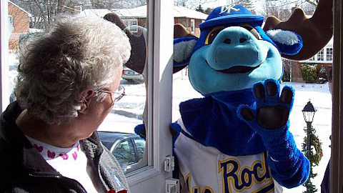 Rocky Bluewinkle will deliver tickets, roses, gift cards and a first-pitch chance.