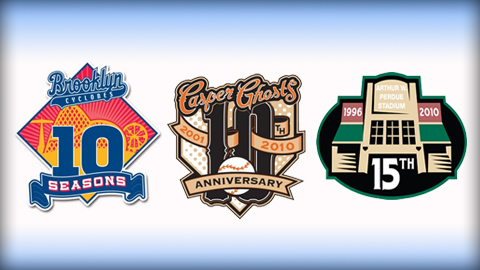The Brooklyn Cyclones, Casper Ghosts and Delmarva Shorebirds are marking anniversaries in 2010.