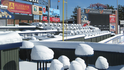Snow-covered FirstEnergy Stadium, as seen from the Chick-Fil-A Fowl Porch.