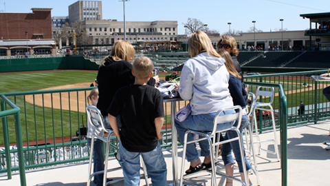 Fans check out their Field Box at last year's Parkview Field open house.