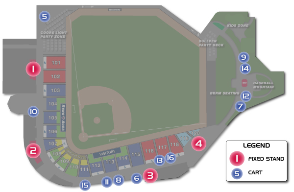 Aces Ballpark Concessions Map