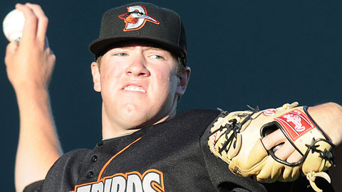 Right-hander Matt Hobgood retired 12 straight for Delmarva on Thursday.