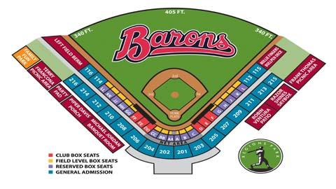 Seating Chart Birmingham Barons Regions Field