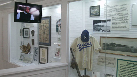 Hank Aaron reminisces about his life and his career on video interviews that play in the museum.