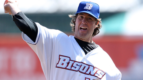 R.A. Dickey is 3-1 with a 2.33 ERA in five starts for Triple-A Buffalo.