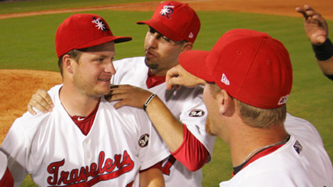 Ryan Brasier and the Travelers celebrate the first Dickey-Stephens Park no-hitter.