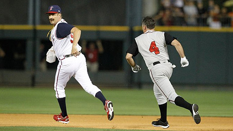 Will Ferrell (left) evades the batter he threw behind on Thursday.