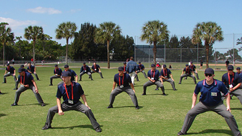 Umpires loosen up at the PBUC's yearly evaluation.