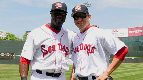 Mike Cameron (l) and Jacoby Ellsbury teamed up for Double-A Portland.