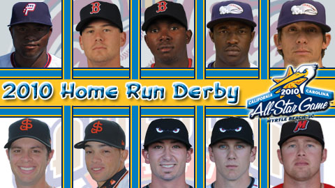 Ten players will take part in the first round of the 2010 Home Run Derby.