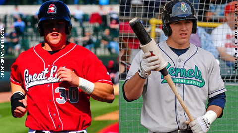 Jerry Sands (l) powers the Eastern Division, while Mike Trout leads the Western squad.