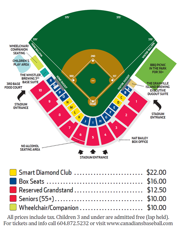 Seating Chart Amp Single Game Prices Vancouver Canadians