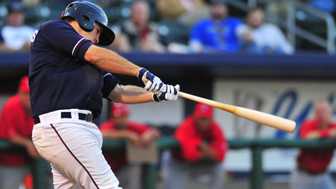 Mike Moustakas leads the Texas League in Triple Crown categories.