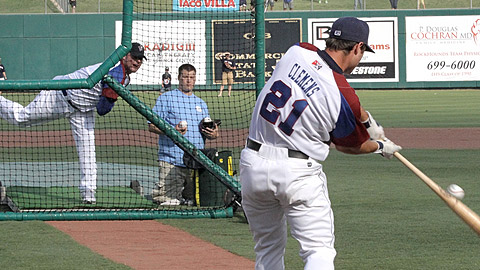 Roger Clemens (left) couldn't serve up a longball to his son, Koby.