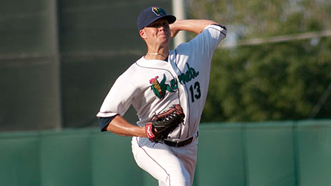 Stephen Locke has thrown 13 consecutive scoreless innings against Peoria.