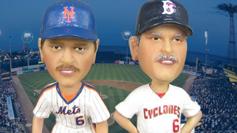 The Wally Backman bobbleheads depict him as a player and a manager.