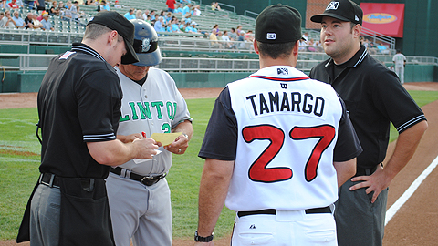 John Tamargo Jr. (r) guided Lansing to a 4-0 record as interim manager.