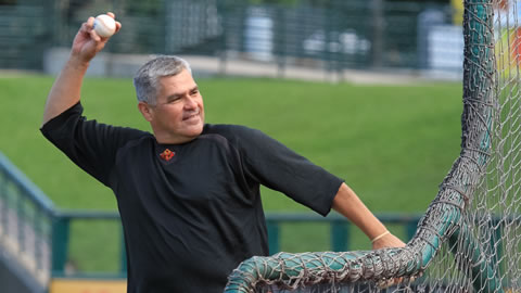 Manager Tom Nieto throws batting practice before a home game.