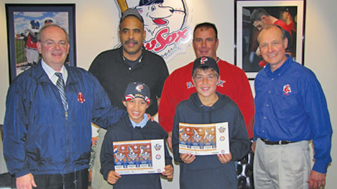 Bellamy Gutierrez of Central Falls (front left) and Zackery Newman of Pawtucket (front right) are heading to Texas for the World Series.