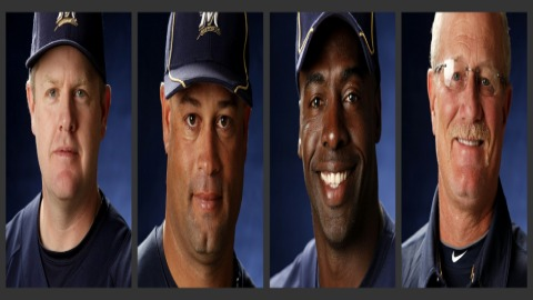 The 2011 Brevard County Manatees coaching staff from left to right: manager Jeff Isom, pitching coach Fred Dabney, hitting coach Dwayne Hosey, athletic trainer Tommy Craig.