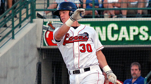 Jerry Sands ranked second in the Minors with 35 homers last season.