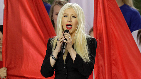 Christina Aguilera botched one of the lines of the national anthem in Dallas.