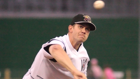 Kyle Heckathorn in action on the 2010 Star Wars Night for the Timber Rattlers.
