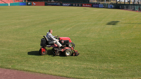Up in Buffalo, Coca-Cola Field receives its first mow of the season.