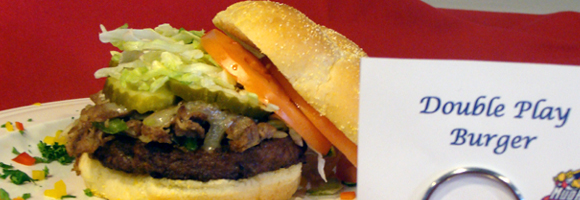 BLOOMIN' BACON BURGER - 1/3 lb. grilled Black Angus beef burger topped ...