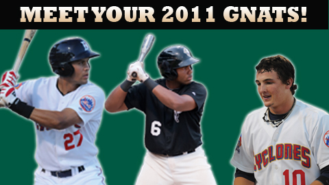 Cory Vaughn (l), Aderlin Rodriguez (center) and Darrell Ceciliani (r) should lead a potent Gnats offense