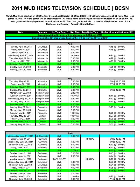 Television Schedule Toledo Mud Hens Schedule