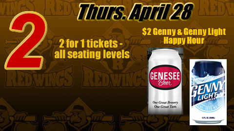 2-for-1 tickets, $2 happy hour on Thurs. April 28.
