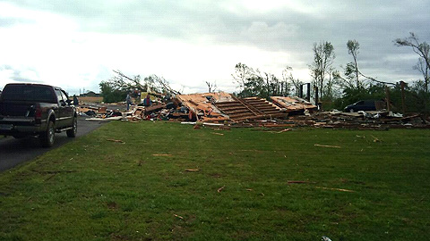 Rubble is all remains of the Wells family home in Alabama after it was hit by a tornado.