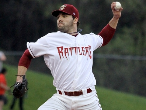 Zach Braddock pitches for the Wisconsin Timber Rattlers on May 12, 2011.