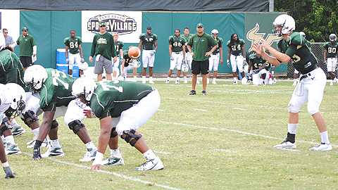 Coaches put the USF Bulls through their paces at the 2010 training camp at VBSV.