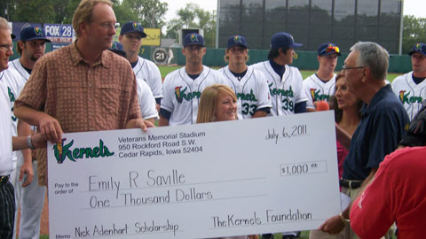 Emily Saville is presented the 2011 Adenhart Memorial Scholarship by Gary Keoppel, Kernels President; Duane and Janet Gigeous (mom & step-dad); and Tom Barbee, Foundation President.