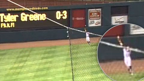 An MiLB.TV replay shows the ball deflecting off David Lough's glove near the warning track in left.