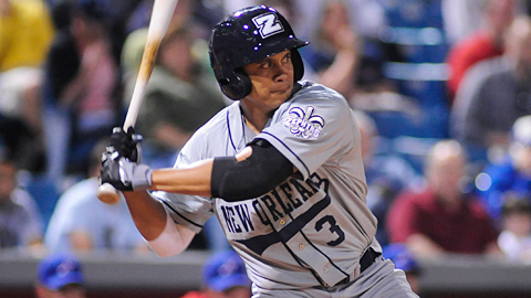 New Orleans' Chris Aguila had six homers and 12 RBIs this week.
