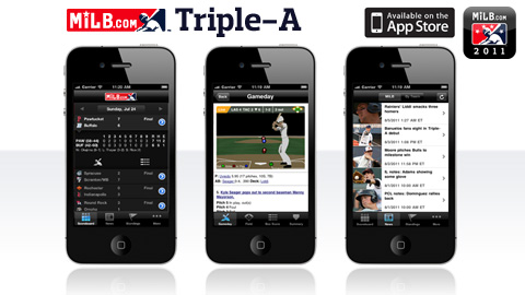 Compatible with the iPhone and iPod touch, 'MiLB.com Triple-A' is available for free download.
