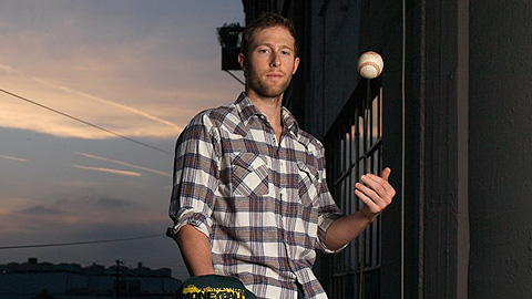 "Former Minor Leaguer Casey Bond portrays Chad Bradford in the film ""Moneyball."""
