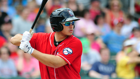 Travis d'Arnaud is hitting .317 for the Fisher Cats this season.