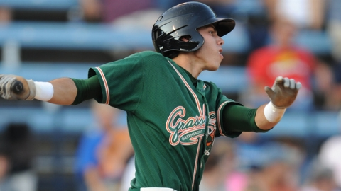 Christian Yelich is third in the South Atlantic League with a .312 average.